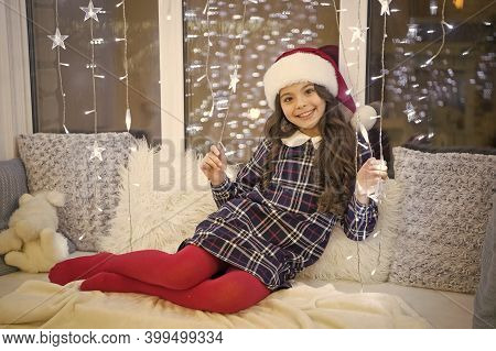 Simply Blessed. Happy Girl Celebrate Xmas And New Year. Little Girl With Xmas Look. Small Girl On Ch