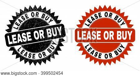 Black Rosette Lease Or Buy Seal. Flat Vector Distress Seal With Lease Or Buy Title Inside Sharp Rose