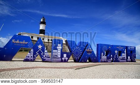 Salvador, Bahia, Brazil - December 14, 2020: View Of The Santo Antonio Fort, Better Known As Farol D