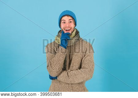 When Weather Turns Chilly. Happy Man In Winter Style Blue Background. Handsome Guy In Casual Comfy S
