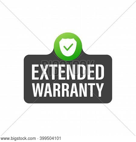 Vector Vintage Green Extended Warranty Label Template. White Background. Certificate Icon Design Vec