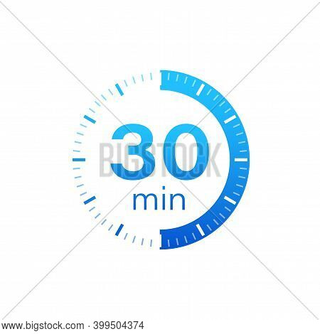 The 30 Minutes, Stopwatch Vector Icon. Stopwatch Icon In Flat Style On A White Background. Vector St