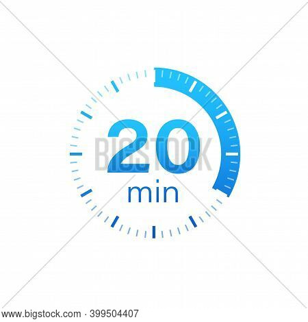 The 20 Minutes, Stopwatch Vector Icon. Stopwatch Icon In Flat Style On A White Background. Vector St