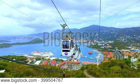 St Thomas, U.s Virgin Islands - May 12, 2017 - The Cable Car And The View Of The Bay From The Top Of