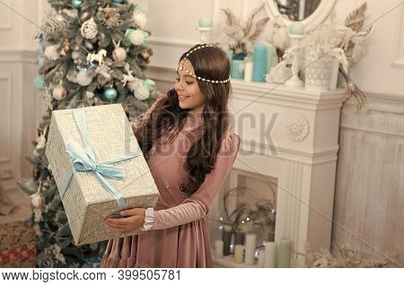 Celebrating Boxing Day With Amazing Gift. Happy Child Hold Gift Box. Little Girl Celebrate Xmas And