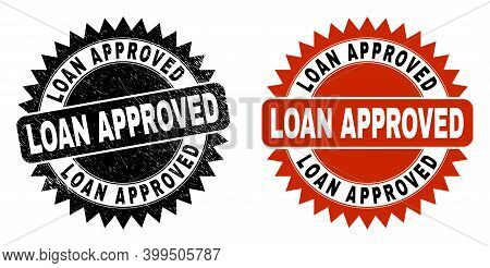 Black Rosette Loan Approved Seal Stamp. Flat Vector Textured Seal With Loan Approved Title Inside Sh