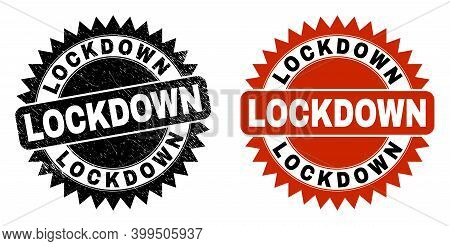 Black Rosette Lockdown Seal. Flat Vector Textured Seal With Lockdown Title Inside Sharp Rosette, And