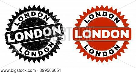 Black Rosette London Seal. Flat Vector Distress Seal With London Message Inside Sharp Rosette, And O