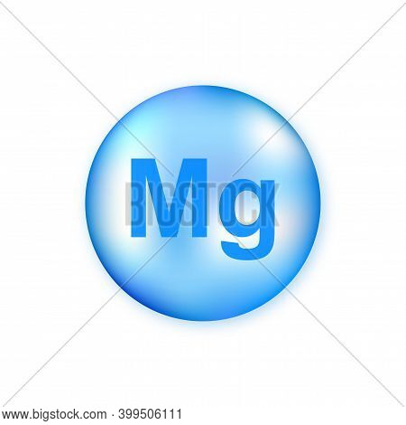 Mineral Mg Magnesium Blue Shining Pill Capsule Isolated On White Background.