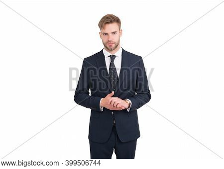 Rich People. Confident Boss Isolated On White. Groomed Guy Wear Elegant Apparel. Barbershop Salon. C
