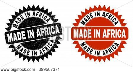 Black Rosette Made In Africa Seal Stamp. Flat Vector Textured Stamp With Made In Africa Message Insi
