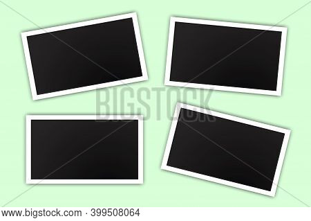 Black Photo In Modern Style On Green Background. Vector Design Template. Scrapbook Design. Vintage P