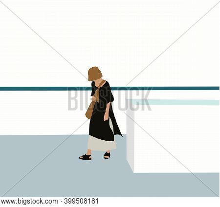 Woman Hispanic Walking Looking Down Wearing Brown Hat On Daylight At Building Rooftop.