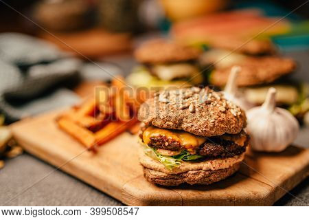Homemade Low Carb Diet Hamburger With Seed Flour Buns And Pumpkin Fries.diet Burgers With Sugar-free