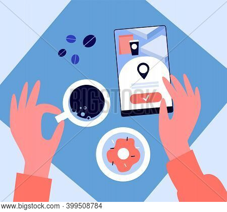 Hands Of Woman Using Cell Phone In Coffee Shop. Top View, Espresso Cup, Location App Flat Vector Ill