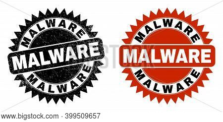 Black Rosette Malware Seal Stamp. Flat Vector Scratched Seal Stamp With Malware Phrase Inside Sharp
