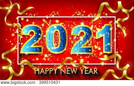 2021 Happy New Year 3d Number Design Poster With Burst Glitter On Red Colour Background - Happy New