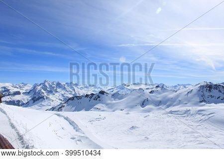 Panoramic View Of The Mountains Of France On A Winter Sunny Day. Haute Savoy, France. Snow Park.