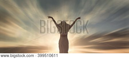 Happy Woman Rise Hand On Morning View. Christian Inspire Praise God On Good Friday Background. Male