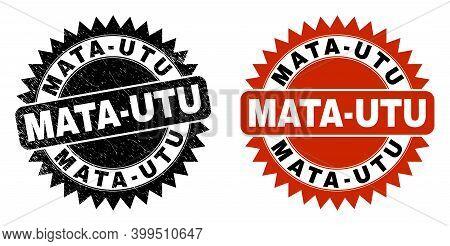 Black Rosette Mata-utu Seal Stamp. Flat Vector Scratched Seal Stamp With Mata-utu Phrase Inside Shar