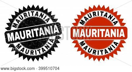Black Rosette Mauritania Seal Stamp. Flat Vector Scratched Seal Stamp With Mauritania Message Inside