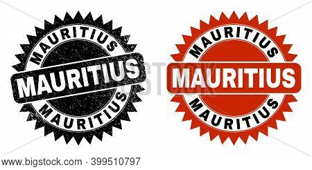 Black Rosette Mauritius Seal Stamp. Flat Vector Textured Seal With Mauritius Message Inside Sharp Ro