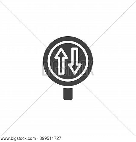 Two Way Traffic Sign Vector Icon. Filled Flat Sign For Mobile Concept And Web Design. Two Way Road G