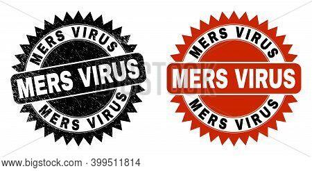 Black Rosette Mers Virus Watermark. Flat Vector Scratched Watermark With Mers Virus Phrase Inside Sh