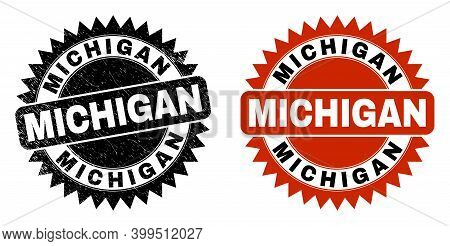 Black Rosette Michigan Stamp. Flat Vector Textured Stamp With Michigan Title Inside Sharp Rosette, A