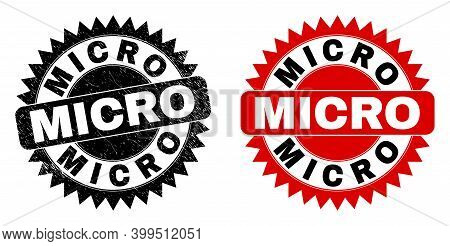 Black Rosette Micro Watermark. Flat Vector Distress Stamp With Micro Phrase Inside Sharp Rosette, An