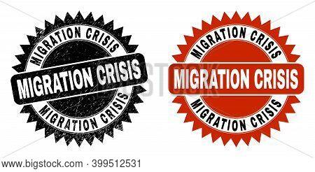 Black Rosette Migration Crisis Stamp. Flat Vector Distress Stamp With Migration Crisis Text Inside S