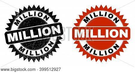 Black Rosette Million Watermark. Flat Vector Grunge Seal Stamp With Million Title Inside Sharp Roset