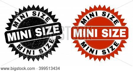 Black Rosette Mini Size Seal Stamp. Flat Vector Grunge Seal Stamp With Mini Size Phrase Inside Sharp