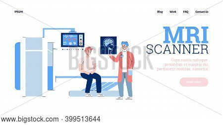 Mri Research Website Banner With Patient And Doctor Near Mri Scanner, Flat Cartoon Vector Illustrati