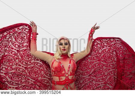 Spectacular Photo Of Transgender With Cape Wearing An Exotic Drag Queen Costume. Transsexual