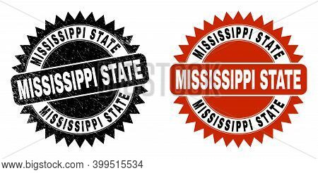 Black Rosette Mississippi State Stamp. Flat Vector Scratched Stamp With Mississippi State Title Insi