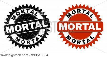 Black Rosette Mortal Watermark. Flat Vector Distress Watermark With Mortal Message Inside Sharp Rose