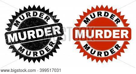 Black Rosette Murder Watermark. Flat Vector Distress Watermark With Murder Title Inside Sharp Rosett