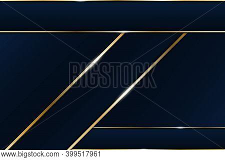 Luxury Line Golden Border And Overlapping Decoration On Modern Blue Dark Background. Vector Illustra