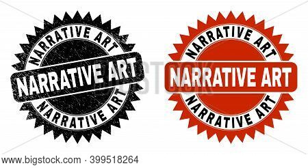 Black Rosette Narrative Art Seal. Flat Vector Distress Seal Stamp With Narrative Art Text Inside Sha