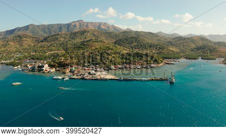Aerial View Ferry Port In The City Of Coron, On The Island Busuanga, Philippines.ferries Transport V