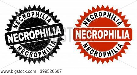 Black Rosette Necrophilia Seal Stamp. Flat Vector Scratched Stamp With Necrophilia Title Inside Shar