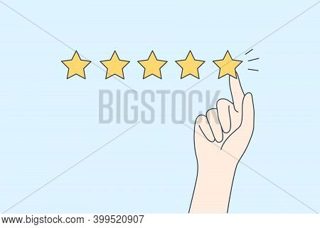Excellent Rating, Perfect Service And Customer Feedback Concept. Hyman Hand Showing Five Star Excell
