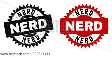 Black Rosette Nerd Watermark. Flat Vector Grunge Watermark With Nerd Title Inside Sharp Rosette, And