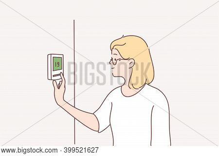 Central Heating, Air Conditioning Concept. Portrait Of Smiling Blonde Woman Cartoon Character Standi
