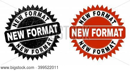 Black Rosette New Format Seal Stamp. Flat Vector Grunge Seal With New Format Text Inside Sharp Roset