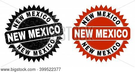 Black Rosette New Mexico Watermark. Flat Vector Scratched Watermark With New Mexico Caption Inside S