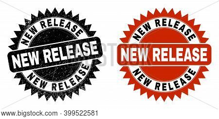 Black Rosette New Release Seal Stamp. Flat Vector Scratched Seal With New Release Caption Inside Sha