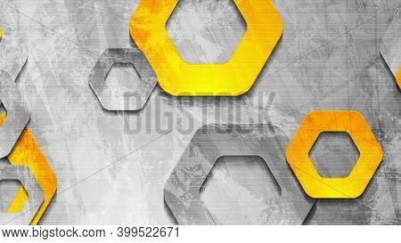 Grey orange grunge wall and hexagons background