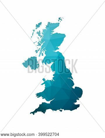 Vector Isolated Illustration With Gradient Blue Simplified Map Shape Of United Kingdom Of Great Brit